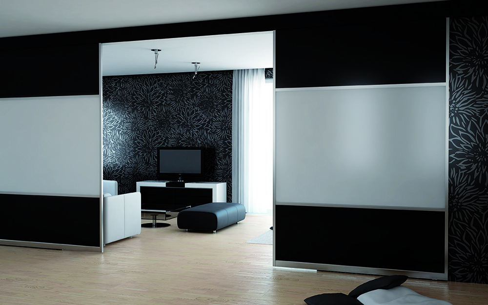 Black and White Matelac Sliding Partition Doors