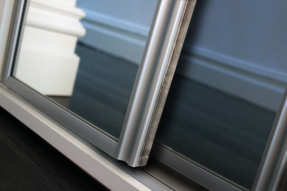 Concord Sliding Wardrobe Door Frame in Silver with Mirror